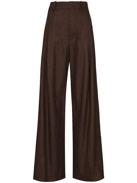 Шерстяные коричневые брюки свободного кроя Chloé