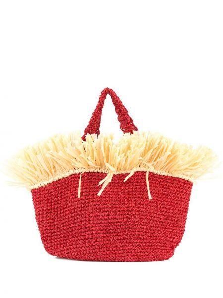 Красная соломенная пляжная сумка с бахромой с баской 0711