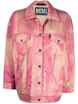 Różowy bawełna długa kurtka z kołnierzem Diesel