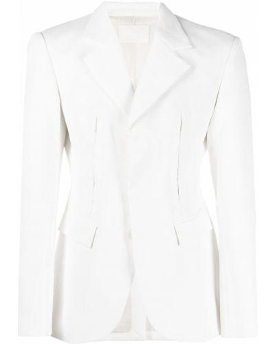 Деловой белый удлиненный пиджак с карманами Dion Lee