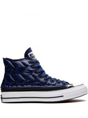 Синие теплые высокие кроссовки Converse