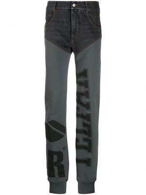 Czarne jeansy bawełniane z paskiem Telfar