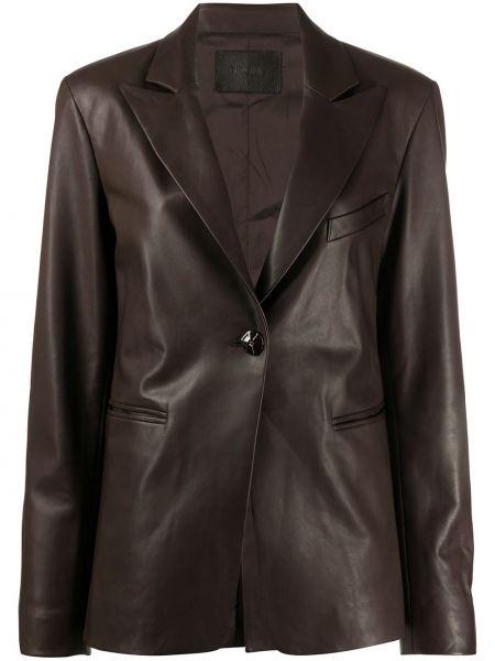 Коричневый приталенный кожаный удлиненный пиджак Drome