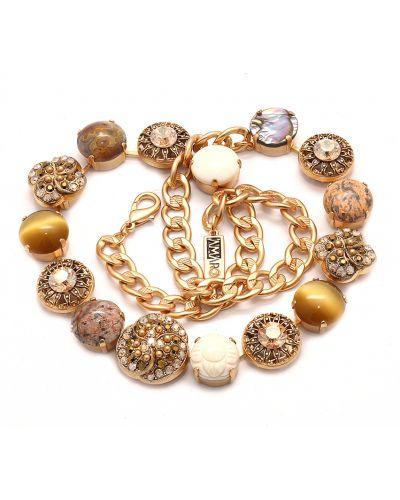 Ожерелье с камнями - коричневое Amaro