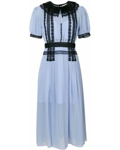 Платье мини ажурное с вырезом Self-portrait