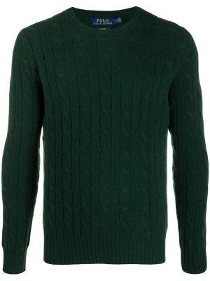 Kaszmir zielony prosto koszulka polo z długimi rękawami Polo Ralph Lauren