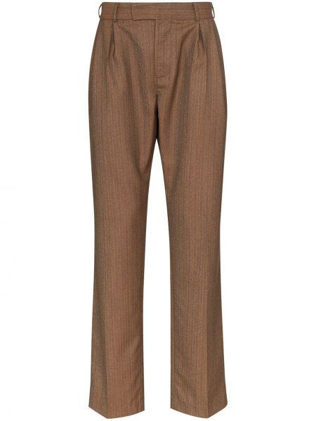 Brązowe spodnie bawełniane z paskiem Ahluwalia Studio