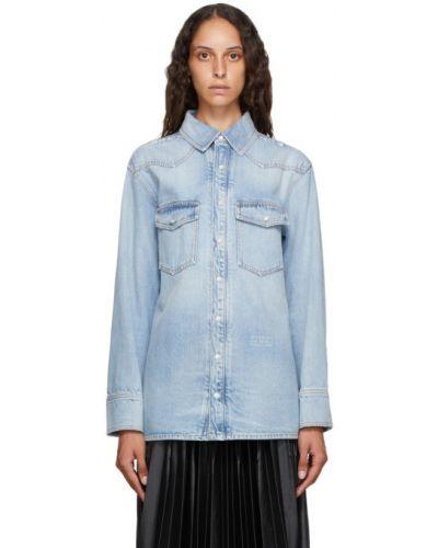 Niebieski koszula jeansowa z kołnierzem z kieszeniami z perłami Givenchy