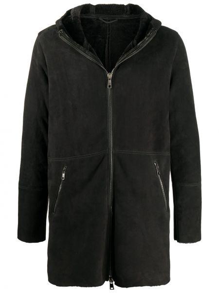 Czarny płaszcz z kapturem skórzany Giorgio Brato