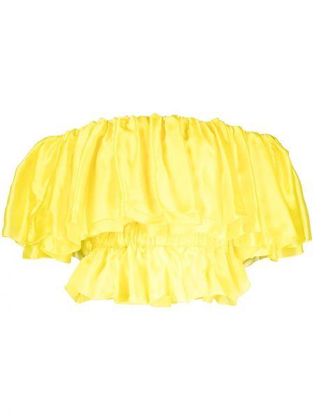 Расклешенный желтый шелковый кроп-топ Alexandre Vauthier
