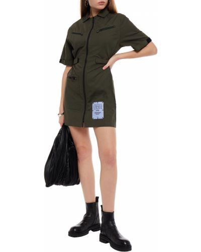 Zielona sukienka mini bawełniana Mcq Alexander Mcqueen