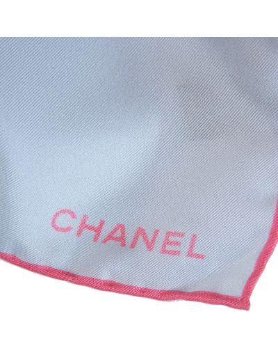 Платок из шелка голубой Chanel
