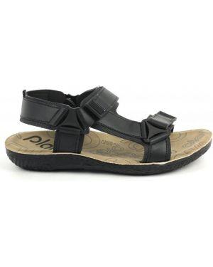 Кожаные сандалии - черные Plato