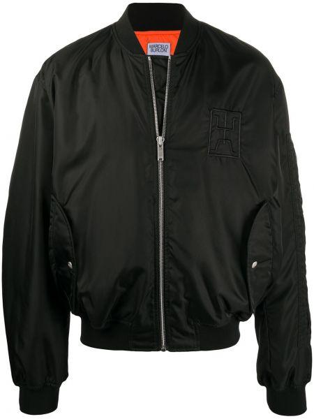 Czarny nylon bawełna kurtka z haftem Marcelo Burlon County Of Milan
