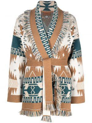 Бежевое кашемировое длинное пальто с лацканами Alanui