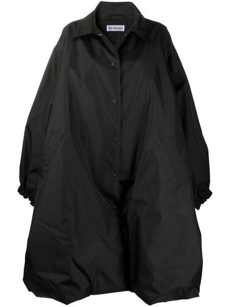 Czarny klasyczny płaszcz z kołnierzem z kieszeniami z mankietami Balenciaga