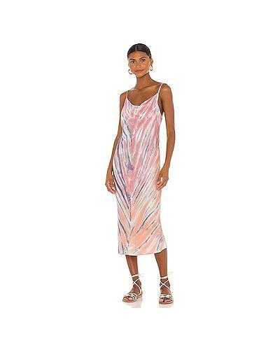 Свободное шелковое розовое платье миди на бретелях Young Fabulous & Broke