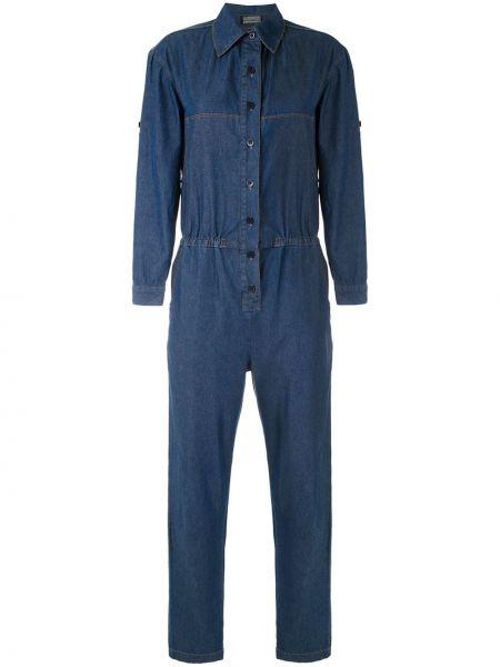 Синий классический джинсовый комбинезон на пуговицах с поясом Amapô
