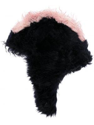 Czarny kapelusz skórzany Marni