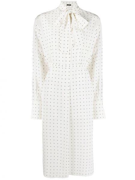 Шелковое белое платье миди в горошек Joseph