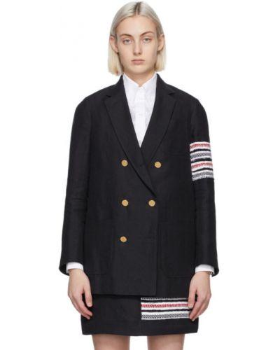 Белый удлиненный пиджак двубортный с накладными карманами Thom Browne