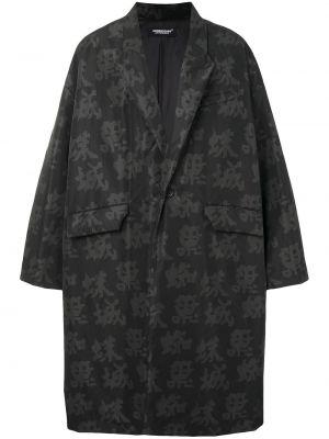 Czarny płaszcz z printem Undercover