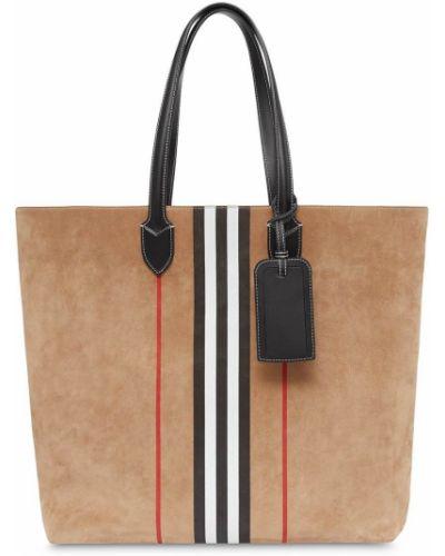 Brązowy torba na zakupy przeoczenie z prawdziwej skóry z kieszeniami Burberry