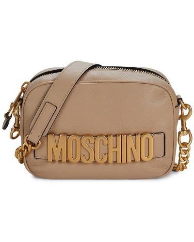 Кожаная косметичка - бежевая Moschino