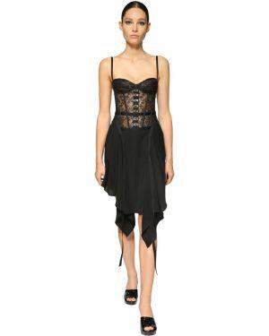Асимметричное ажурное платье Olivier Theyskens