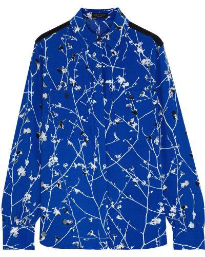 Niebieska koszula z wiskozy zapinane na guziki Rag & Bone