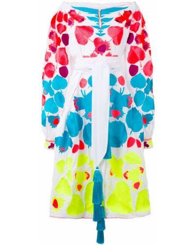 Платье миди с открытыми плечами с вышивкой Yuliya Magdych