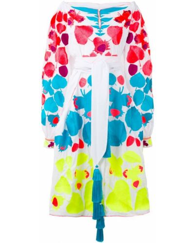 Платье миди с открытыми плечами - белое Yuliya Magdych