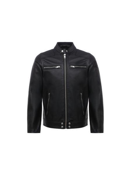 Нейлоновая черная кожаная куртка с поясом на молнии Diesel