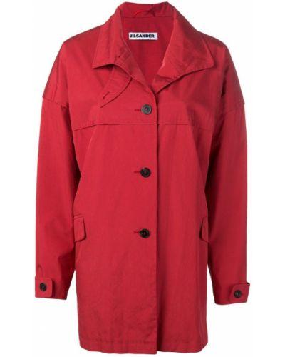 Красное пальто классическое с капюшоном с воротником Jil Sander Pre-owned