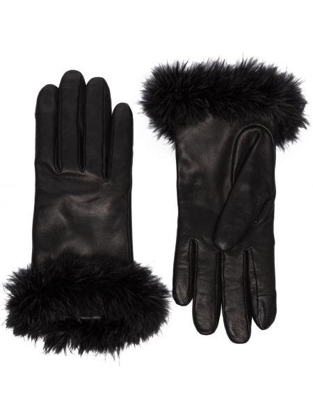 Черные кожаные перчатки с подкладкой из альпаки Agnelle