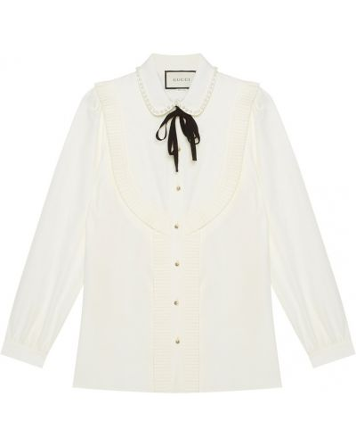 Блузка с бантом с жемчугом Gucci