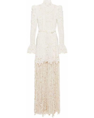 Шелковое кружевное белое платье макси Zimmermann