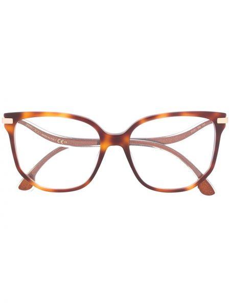 Золотистые коричневые очки металлические Jimmy Choo Eyewear