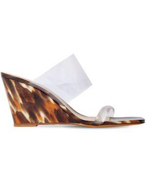Brązowe sandały skorzane na koturnie Maryam Nassir Zadeh