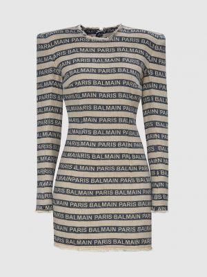 Льняное платье мини - бежевое Balmain