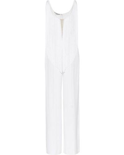 Biały kombinezon z wiskozy z frędzlami Stella Mccartney