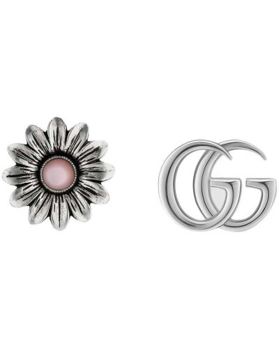 Różowe kolczyki sztyfty perły srebrne Gucci
