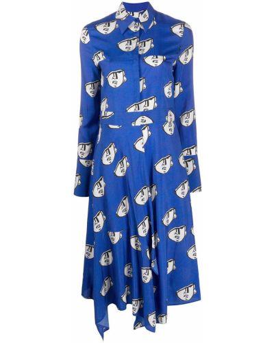Прямое шелковое платье с воротником с длинными рукавами Christian Wijnants