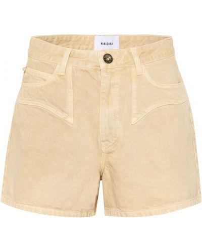 Джинсовые шорты бежевые с разрезами по бокам Nanushka