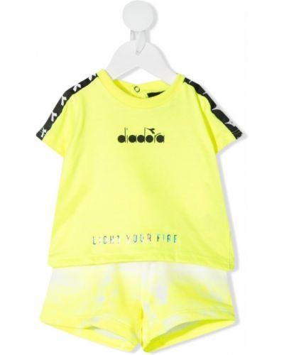 Żółty dres bawełniany krótki rękaw Diadora Junior
