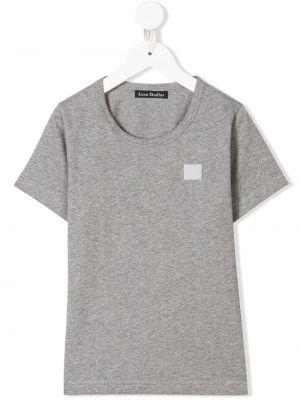 T-shirt bawełniany z haftem krótki rękaw Acne Studios Kids
