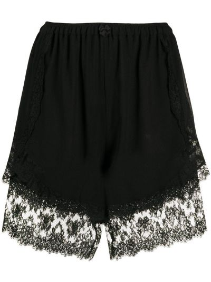 Z wysokim stanem czarny szorty z wiskozy na sznurowadłach Dolce And Gabbana