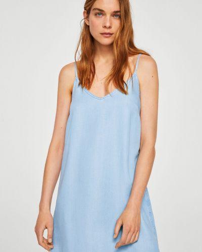 Платье мини с V-образным вырезом с поясом в клетку Mango