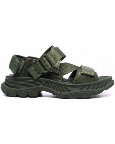 Sandały skórzane - zielone Alexander Mcqueen