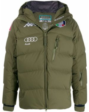 Куртка с капюшоном длинная зеленая Kappa